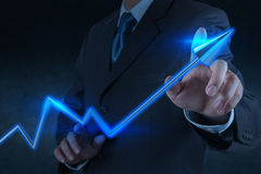 Businessman hand touch 3d virtual chart business Royalty Free Stock Photo