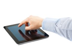 Businessman hand touch tablet pc on table. With space for text Stock Photo