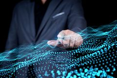 Businessman hand touch on virtual dot and line network connectio stock photography