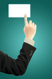Businessman hand touching blank Royalty Free Stock Image