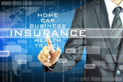 Businessman hand touching INSURANCE  sign on virsual screen Stock Photography