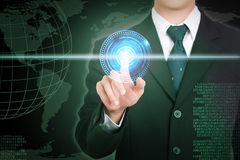 Businessman hand touching   network and future concept on screen Stock Photo
