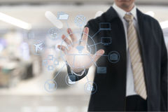 Businessman hand touching on virtual screen. Royalty Free Stock Photos