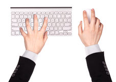 Businessman Hand typing on computer keyboard Stock Photo