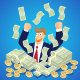 Businessman hand up in a pile of dollar money with falling money Stock Photo