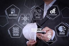 Businessman hand use smart phone computer. Machine learning technology diagram with artificial intelligence (AI),neural network,automation,data mining in VR stock photos
