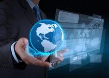 Businessman hand using new technology Stock Photos