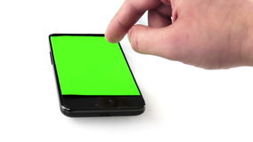 Businessman hand using a smart phone in the office and drink coffee with chroma key, green screen, business communication stock video