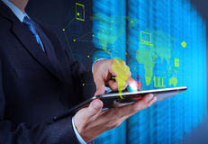 Businessman hand using tablet computer Stock Photography