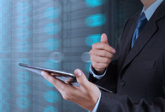 Businessman hand using tablet computer Stock Images