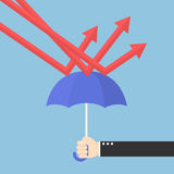 Businessman hand using umbrella to protect downtrend graph. VECTOR, EPS10 Royalty Free Stock Image