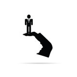 Businessman in hand vector silhouette. Illustration Royalty Free Stock Photography