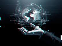 Businessman hand virtual earth projection Royalty Free Stock Photos