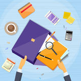 Businessman Hand Work Stuff Briefcase Desk. Business Vector Illustration Royalty Free Stock Image