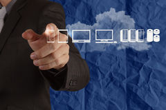 Businessman hand working with a Cloud Computing Royalty Free Stock Photo