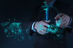 Businessman hand working with a Cloud Computing diagram Stock Images