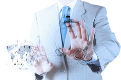 Businessman hand working with a Cloud Computing diagram Royalty Free Stock Photography