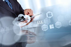Businessman hand working with a Cloud Computing diagram Stock Photo