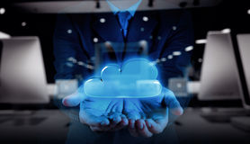 Businessman hand working with a Cloud Computing Stock Photo