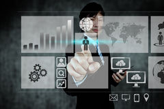 Businessman hand working on digital virtual screen, business str Royalty Free Stock Photo