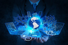 Businessman hand working with modern technology Royalty Free Stock Image