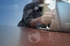 Businessman hand working with modern technology Stock Photography