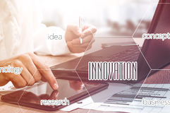 Businessman hand working with modern technology and digital layer effect as business strategy concept Royalty Free Stock Image