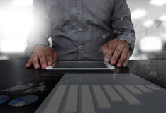 Businessman hand working Stock Photography