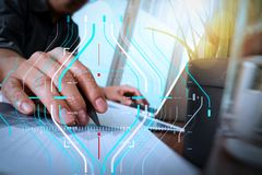Businessman hand working with new modern computer and business s. Business data analytics process management diagram.businessman hand working with new modern Royalty Free Stock Image