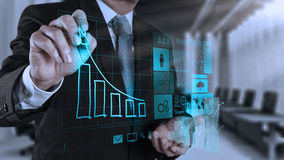 Businessman hand working with new modern computer and business s royalty free stock photos