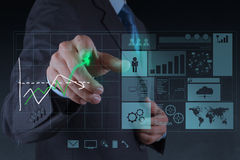 Businessman hand working with new modern computer. And business strategy as concept royalty free stock photo