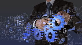 Businessman hand working Stock Photos