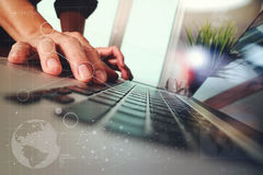 Businessman hand working with new modern computer Royalty Free Stock Photo