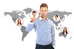Businessman hand working over world map Royalty Free Stock Photos