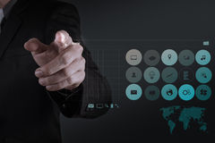 Businessman hand working with www. written in search bar Stock Image