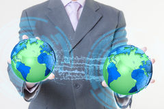 Businessman hand world Stock Photos