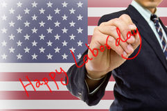 Businessman hand write Happy labor day Stock Photos