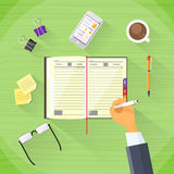 Businessman Hand Write Pen Notebook Desk Flat Stock Photos