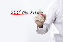 Businessman hand writing 360 degrees Marketing with marker, Busi. Ness concept Royalty Free Stock Images