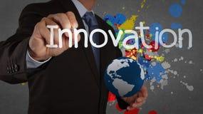Businessman hand writing innovation Stock Photos