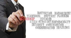 Businessman hand writing leadership skill Stock Image