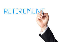 hand writing retirement on white board Stock Images