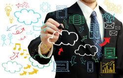 Businessman with cloud computing themed pictures. Businessman with hand written cloud computing themed texts and pictures Stock Photos