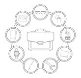 Businessman handbag contents Royalty Free Stock Images