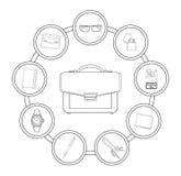 Businessman handbag contents Royalty Free Stock Images