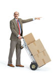 Businessman and handcart. Gesture Stock Images