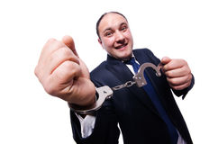 Businessman handcuffed isolated on white Royalty Free Stock Photos
