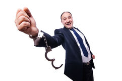 Businessman handcuffed isolated on white Stock Image
