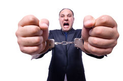 Businessman with handcuffs Stock Photography
