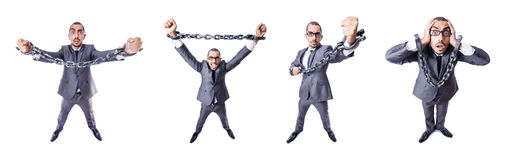 The businessman with handcuffs on white Stock Photo